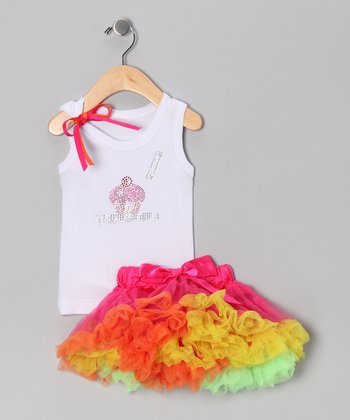 White '1' Cupcake Tank & Pink Pettiskirt - Infant & Toddler