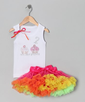 White '2' Cupcake Tank & Pink Pettiskirt - Toddler & Girls