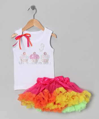 White '3' Cupcake Tank & Pink Pettiskirt - Toddler & Girls