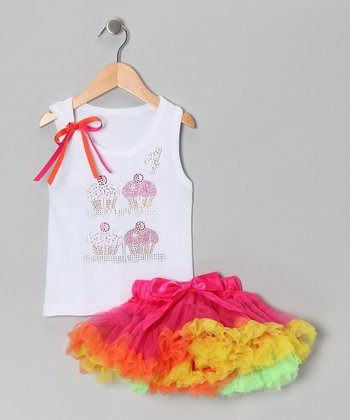White '4' Cupcake Tank & Pink Pettiskirt - Girls