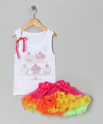 White '5' Cupcake Tank & Pink Pettiskirt - Girls