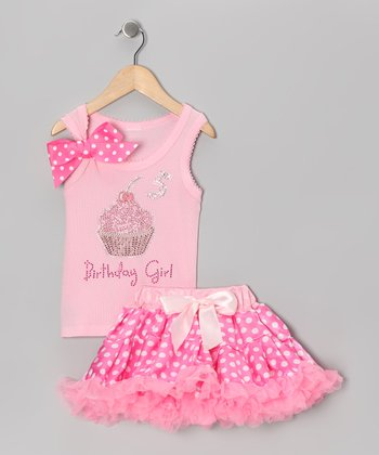 Pink '5 Birthday Girl' Tank & Pettiskirt - Girls