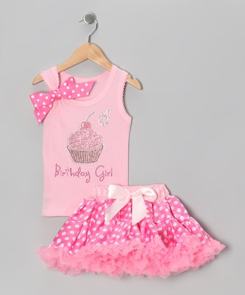 Pink '6 Birthday Girl' Tank & Pettiskirt - Girls
