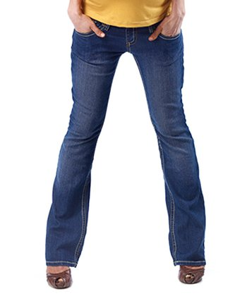 Blue Flap-Pocket Maternity Bootcut Jeans