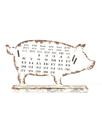 Cream Pig Distressed Calendar