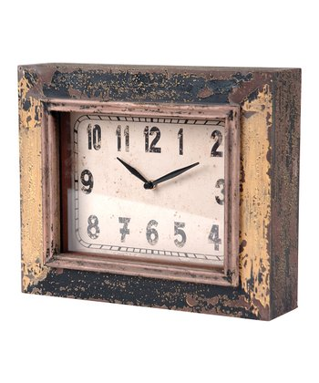 Antique Yellow Rectangle Clock