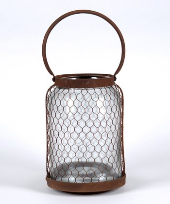 Rust Brown Hurricane Lantern Candleholder