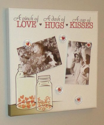 Beige 'Love Hugs Kisses' Photo/Memo Board