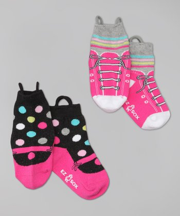 Pink Sneaker & Mary Jane Socks Set