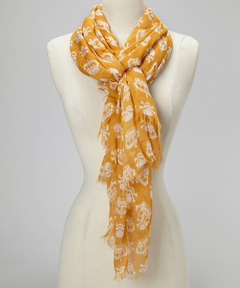 Orange Crown & Skull Scarf