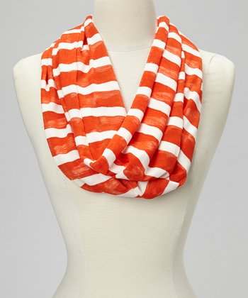 Orange Stripe Infinity Scarf