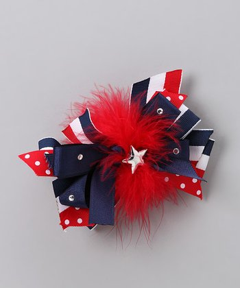 Red & Blue Bow clip