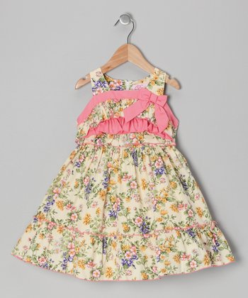 Cream Floral Bow Dress - Girls