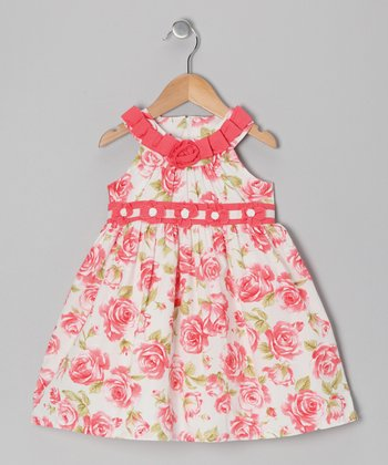 Coral Floral Ribbon Dress - Infant & Girls