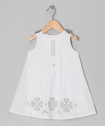 White & Gray Heart Dress - Toddler & Girls
