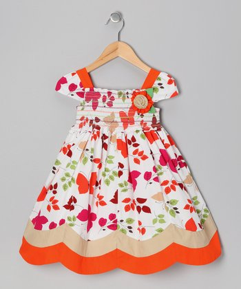 Orange Butterfly & Flower Dress - Girls