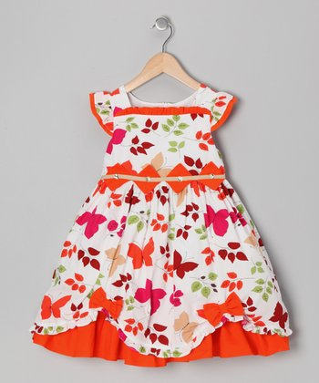 Orange Butterfly & Bow Dress - Girls