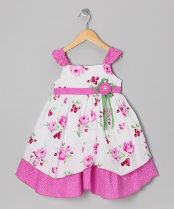 Pink Strawberry Rose Dress - Girls