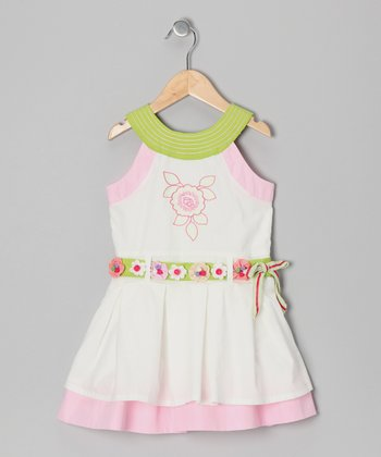 White Rose Yoke Dress - Girls