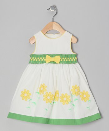 Ivory & Green Floral Bow Dress - Girls