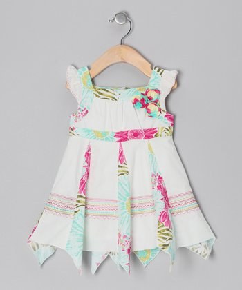 Ivory & Fuchsia Pleated Panel Dress - Infant & Girls