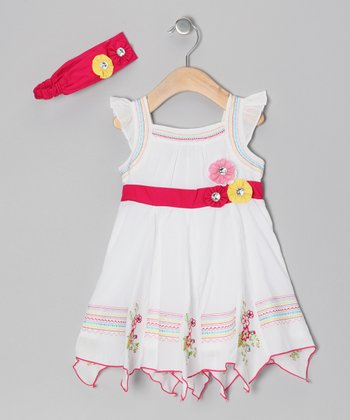 White & Fuchsia Floral Dress & Headband - Girls