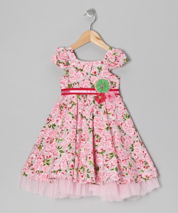 Pink Cherry Blossom Dress - Infant & Girls