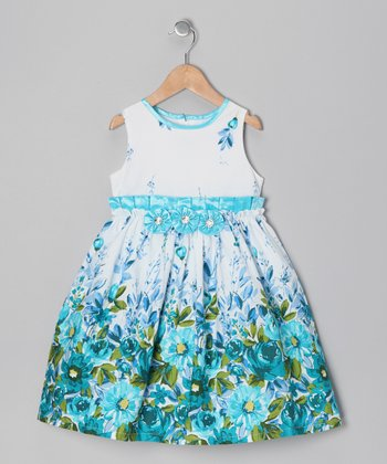 Turquoise Floral Dress - Infant & Girls