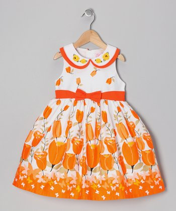 Orange Tulip Bow Dress - Girls