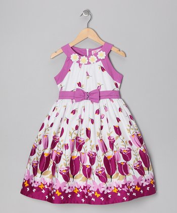 Lilac Tulip Bow Dress - Girls