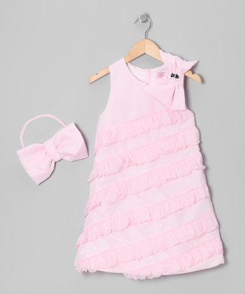 Pink Bow Ruffle Dress & Clip - Girls