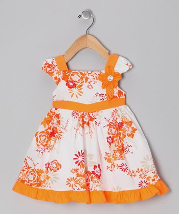 Orange Floral Ruffle Dress - Infant, Toddler & Girls