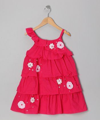 Fuchsia Floral Ruffle Asymmetrical Dress - Girls
