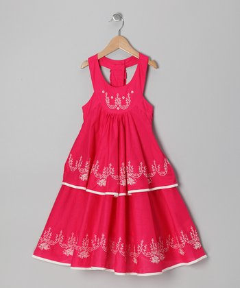 Fuchsia Embroidered Dress - Toddler & Girls
