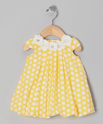 Yellow Polka Dot Floral Dress - Infant & Toddler