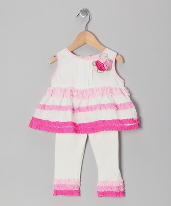 Pink Bow Ruffle Dress & Leggings - Infant & Toddler