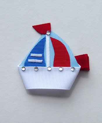 Blue Rhinestone Sailboat Clip