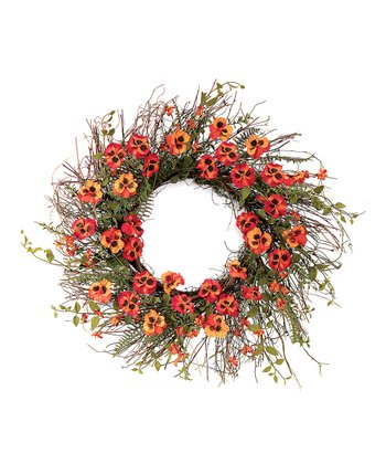 Orange Pansy & Fern Foliage Wreath