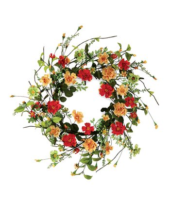 Peach & Orange Daisy Floral Wreath