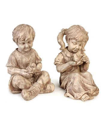 Boy & Girl Sitting Figurine Set