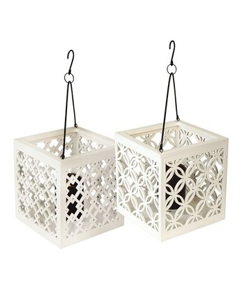 White Box Lantern - Set of Two