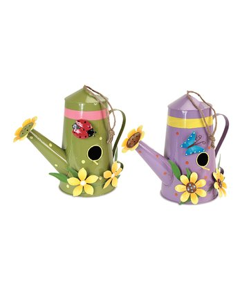 Green & Purple Watering Can Birdhouse Set