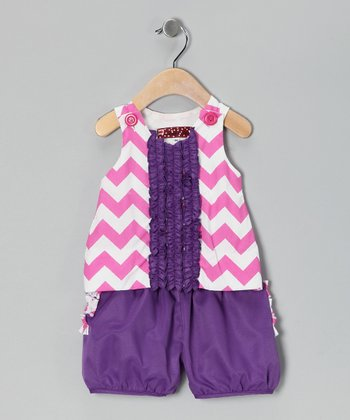 Pink & Purple Chevron Alexis Tank & Shorts - Toddler