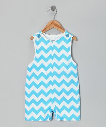 Blue Chevron Shortalls - Infant & Toddler