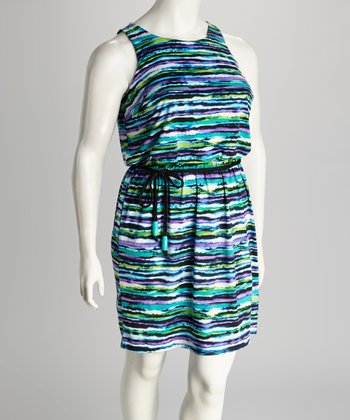 Purple & Green Stripe Tie-Waist Plus-Size Dress