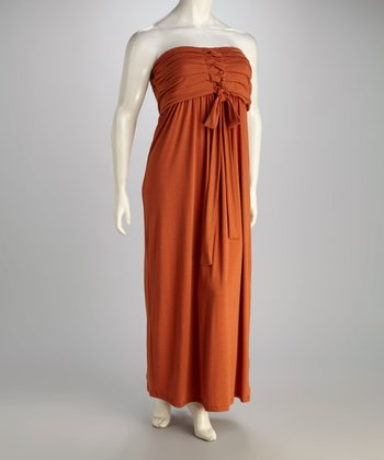 Burnt Orange Strapless Maxi Dress - Plus