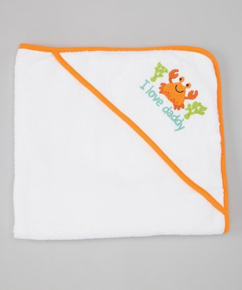 Orange 'I Love Daddy' Crab Hooded Towel