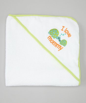 Lime Green 'I Love Mommy' Turtles Hooded Towel