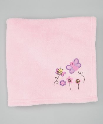 Light Pink Flowers Plush Blanket