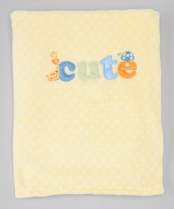 Yellow Dot 'Cute' Plush Blanket